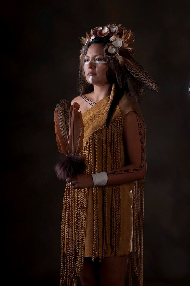 "Photo - Actor Nola Monetathchi will appear in traditional Chickasaw regalia created by award-winning Chickasaw textile artist Margaret Roach Wheeler when the Oklahoma City Philharmonic performs Chickasaw classical composer Jerod Impichchaachaaha' Tate's ""Lowak Shoppala' (Fire and Light), Scene 4: Clans"" Feb. 16 at the Civic Center. [Photo provided]"