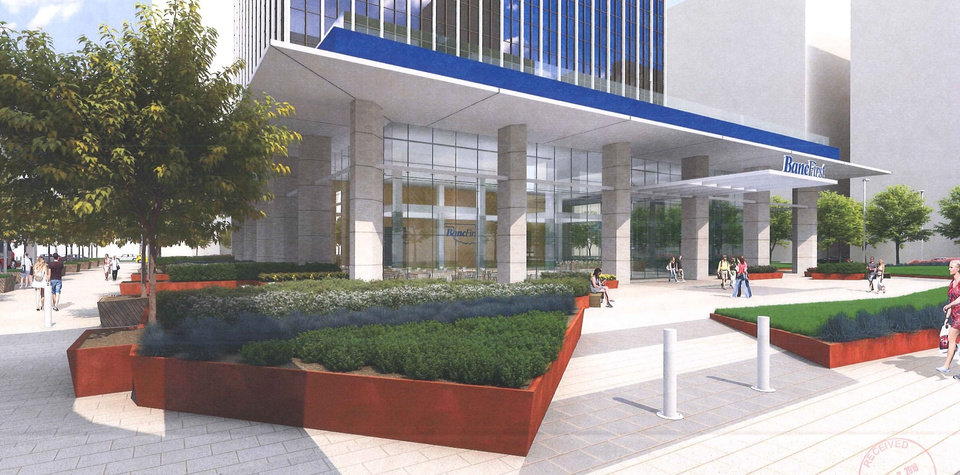 Photo -  More landscaping and pedestrian friendly areas are envisioned as part of a proposed makeover of Cotter Ranch Tower by BancFirst.