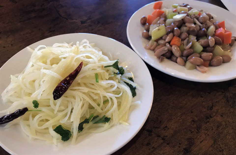 Photo - Potato noodles and soy-boiled peanuts from Northern Noodle House in Oklahoma City. [Dave Cathey/The Oklahoman]