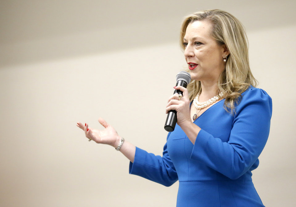 Photo - Rep. Kendra Horn speaks at a town hall meeting at The Children's Center Rehabilitation Hospital in Bethany, Okla.,  Saturday, Jan. 11, 2020.  [Sarah Phipps/The Oklahoman]