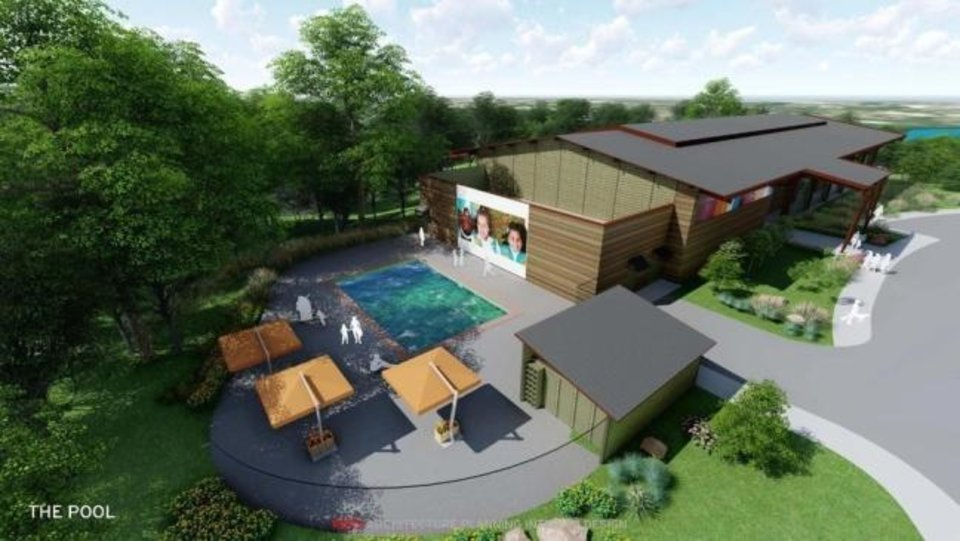 Photo -  A rendering by REES Architecture of the zero entry pool that will be featured at Camp Trivera, the nation's first Urban Girl Scout Camp. The camp is set to open Fall 2020. [provided]