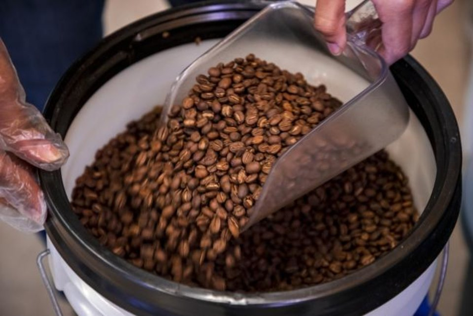 Photo -  Coffee beans are prepared for packaging at LEAP Coffee Roasters on Monday, Jan. 27, 2020, in Oklahoma City, Okla.   [Chris Landsberger/The Oklahoman]
