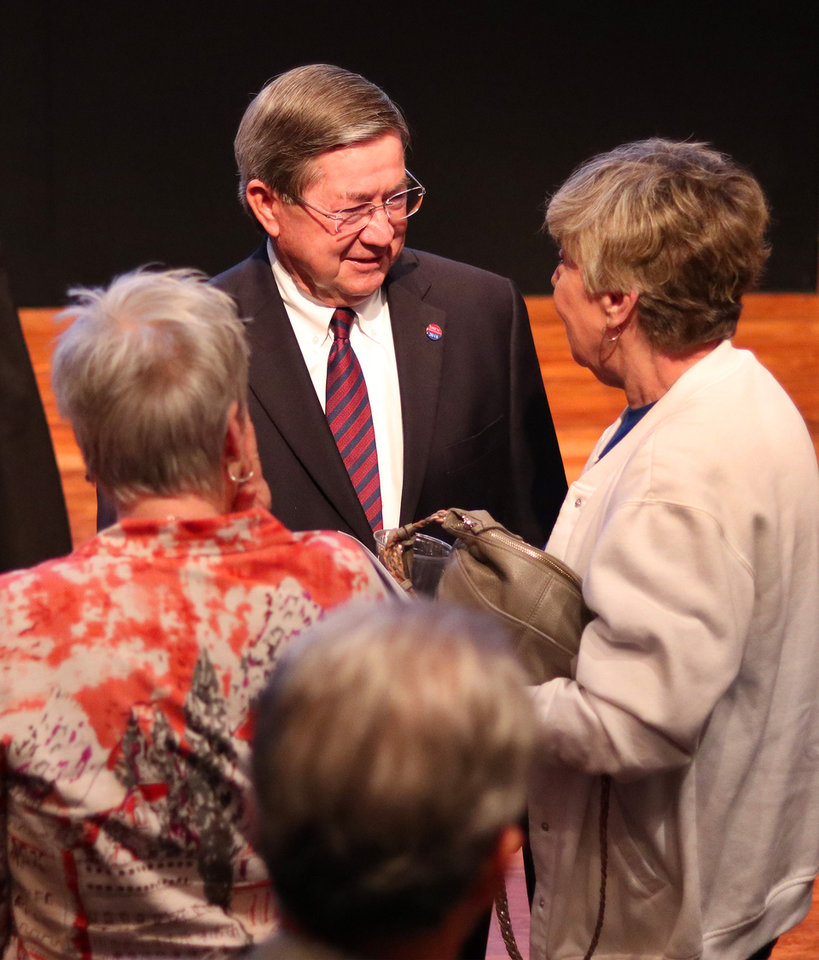 Photo - Drew Edmondson talks with supporters after The Oklahoman's Gubernatorial Forum at the Oklahoma City Museum of Art, Monday, September, 24, 2018.  Photo by Doug Hoke, The Oklahoman