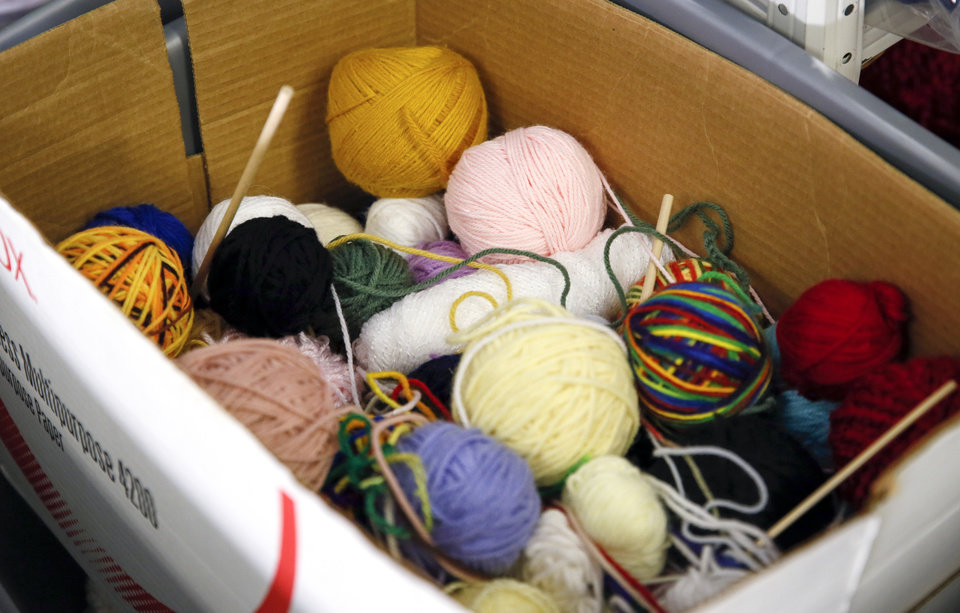 Photo - Yarn used in the crochet class at FAME Academy, an alternative school in Comanche Public Schools, in Meridian, Okla., Wednesday, Oct. 3, 2018. Photo by Nate Billings, The Oklahoman