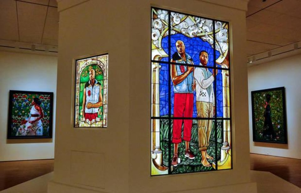 Photo - Stained glass work by artist Kehinde Wiley is on view in the exhibit