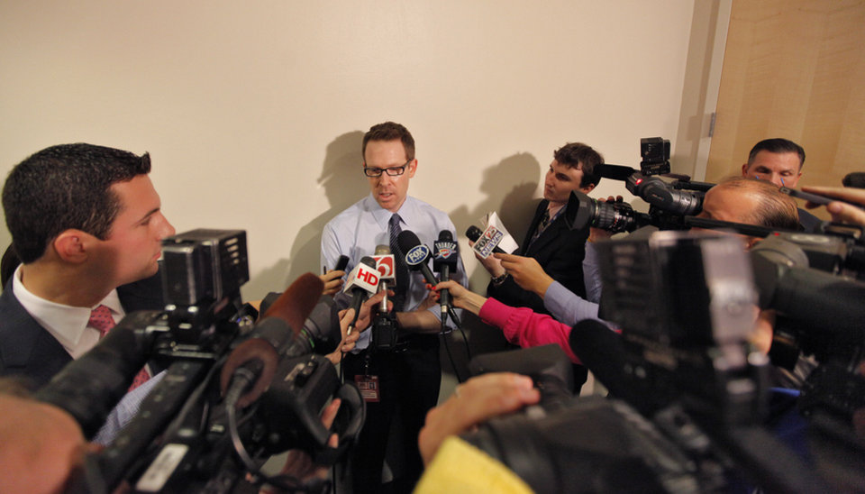 Photo - Thunder general manager Sam Presti talks to the media about the Thunder's signing of Derek Fisher before the NBA basketball game between the Oklahoma City Thunder and the Los Angeles Clippers at Chesapeake Energy Arena on Wednesday, March 21, 2012 in Oklahoma City, Okla.  Photo by Chris Landsberger, The Oklahoman