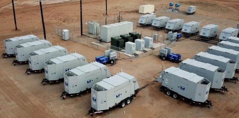 Photo -  Sixteen 350-kilowatt generators supplied by Mesa Natural Gas Solutions work together to provide power to Preferred Sands' mining operation in northwest Oklahoma.