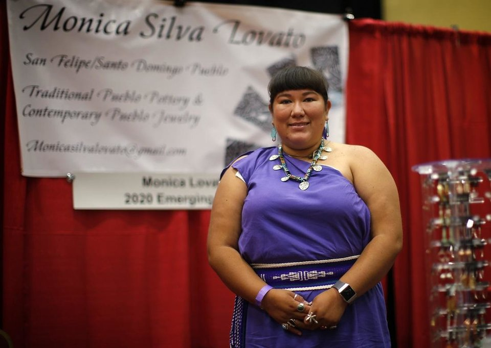Photo -  Monica Silva Lovato, who received an emerging artist scholarship for the 2020 Red Earth Festival, also earned first place in the pottery/sculpture category at at the Red Earth Festival awards ceremony at the Grand Casino Hotel & Resort, Saturday, Sept. 5, 2020. [Bryan Terry/The Oklahoman]