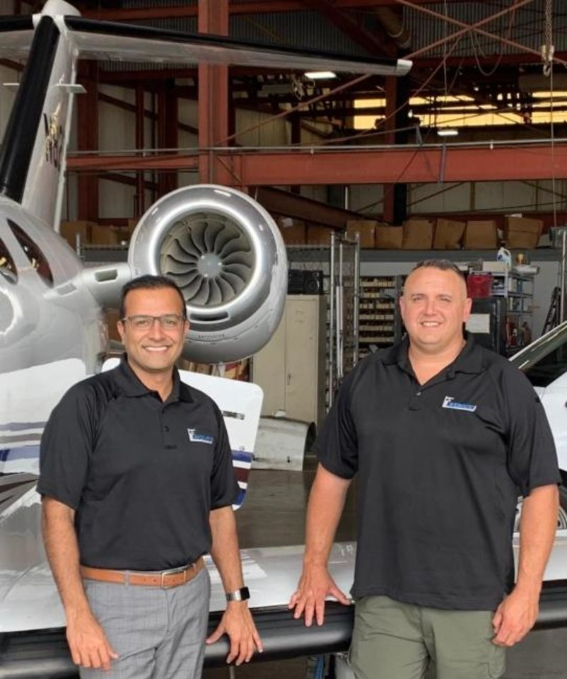 "Photo -  Oklahoma Aviation Owner ""Sho"" Kassam and Justin Colvalt, a factory-certified mechanic and inspector with more than 19 years of experience, are co-owners of Avion Aero Holdings LLC. [Provided]"
