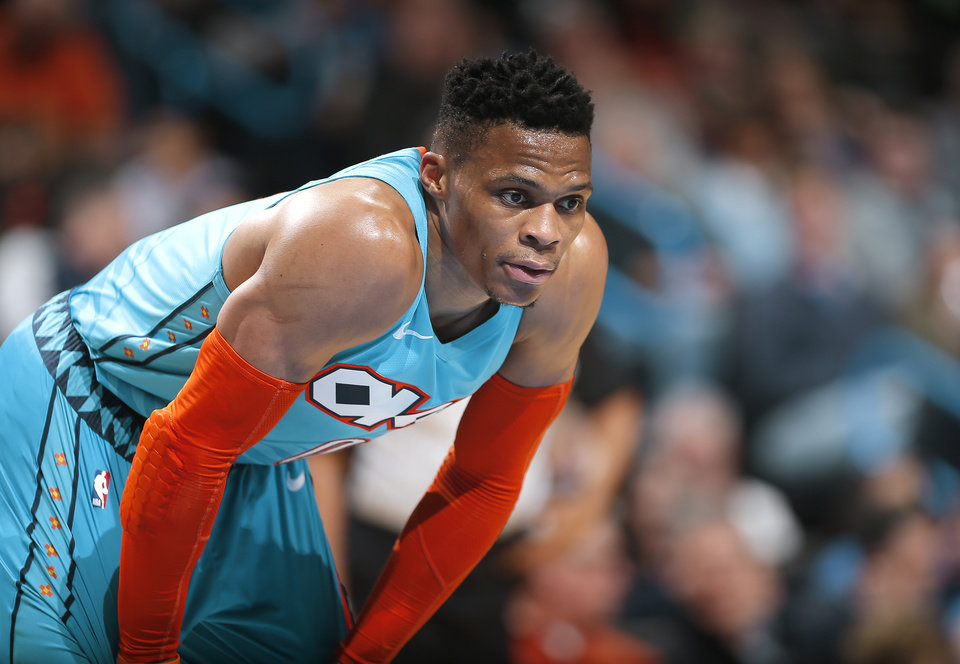 Photo - Oklahoma City's Russell Westbrook (0) lines up for a free throw during the NBA basketball game between the Oklahoma City Thunder and the Memphis Grizzlies at the Chesapeake Energy Arena, Sunday, March 3, 2019. Photo by Sarah Phipps, The Oklahoman