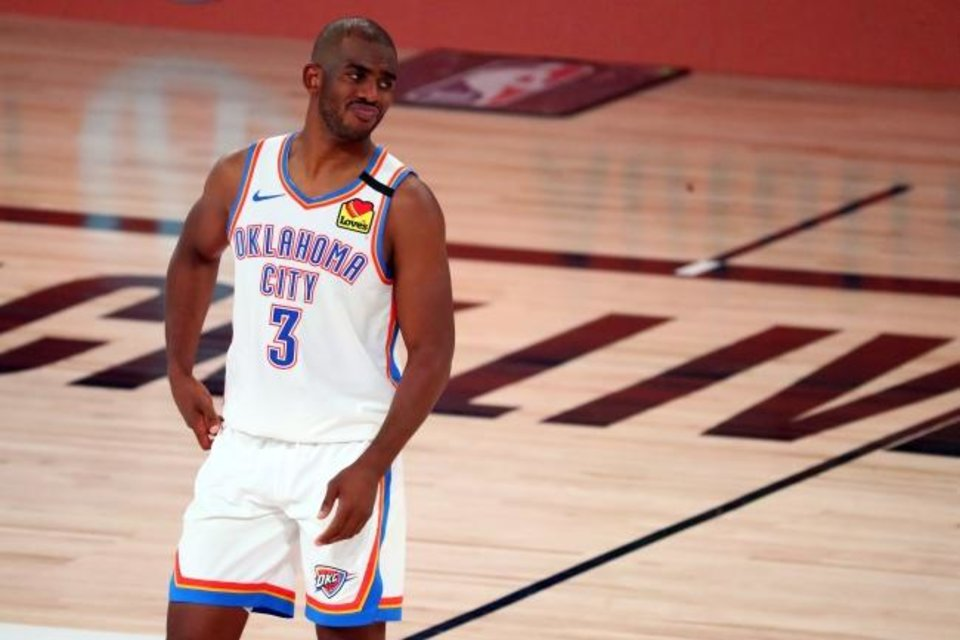 Photo -  Aug 24, 2020; Lake Buena Vista, Florida, USA; Oklahoma City Thunder guard Chris Paul (3) reacts during the second half in game four of the first round of the 2020 NBA Playoffs against the Houston Rockets at AdventHealth Arena. Mandatory Credit: Kim Klement-USA TODAY Sports