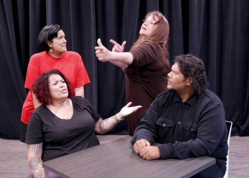 Photo -  From left Carolyn Dunn, Maya Torralba, Misty Red Elk and Johnlee Lookingglass practice a scene on June 6 during a rehearsal for the play