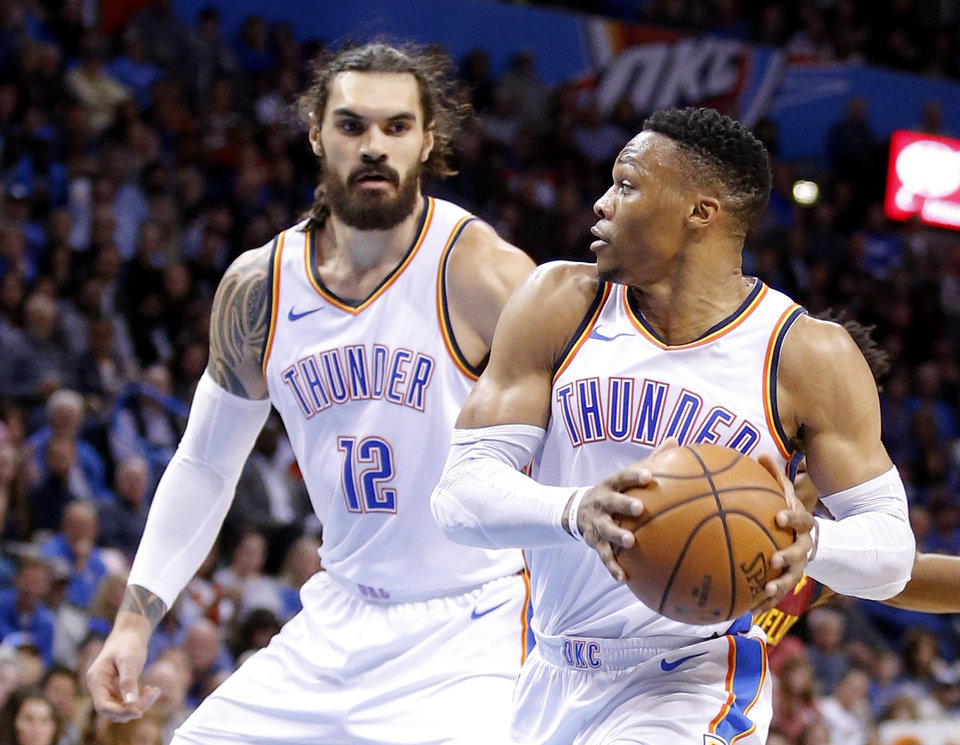 e452b3180c3 Oklahoma City s Russell Westbrook (0) looks to pass the ball to Steven  Adams (12) during the NBA game between the Oklahoma City Thunder and the  Cleveland ...