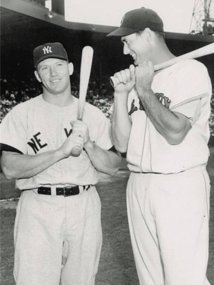 Photo - Mickey Mantle of the New York Yankees, at left, and Ted Williams of the Boston Red Sox. AP Photo