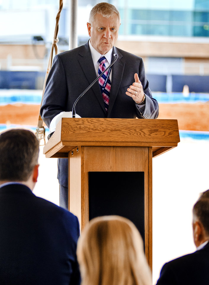 Photo - Director of Airports, Mark Kranenburg speaks during a ceremony for the official launch of the Will Rogers World Airport Terminal Expansion Project at the airport in Oklahoma City, Okla. on Friday, March 29, 2019. Photo by Chris Landsberger, The Oklahoman