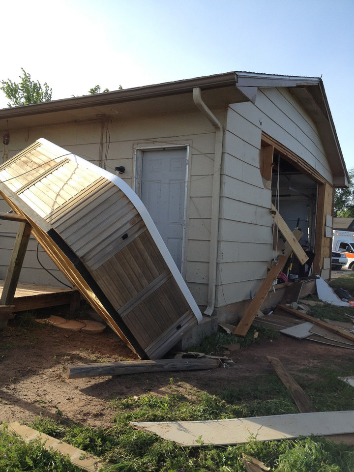 Photo -  Tornado damage to the home of Sterling Parks, one of three plaintiffs who was awarded more than $5 million in a recent case against Farmers and Foremost insurance companies. Photo provided.