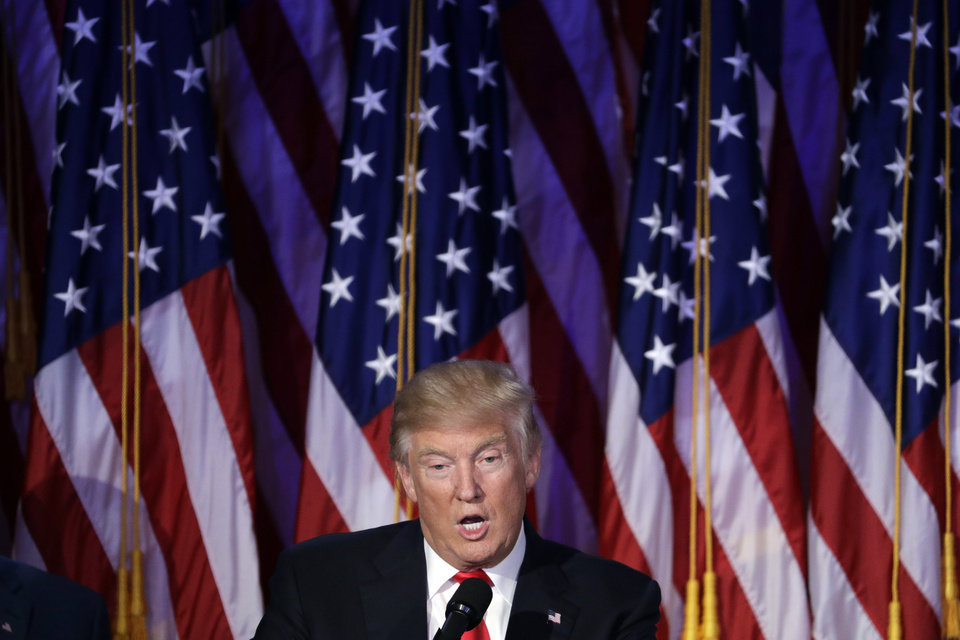 Photo - President-elect Donald Trump gives his acceptance speech during his election night rally, Wednesday, Nov. 9, 2016, in New York. (AP Photo/John Locher)