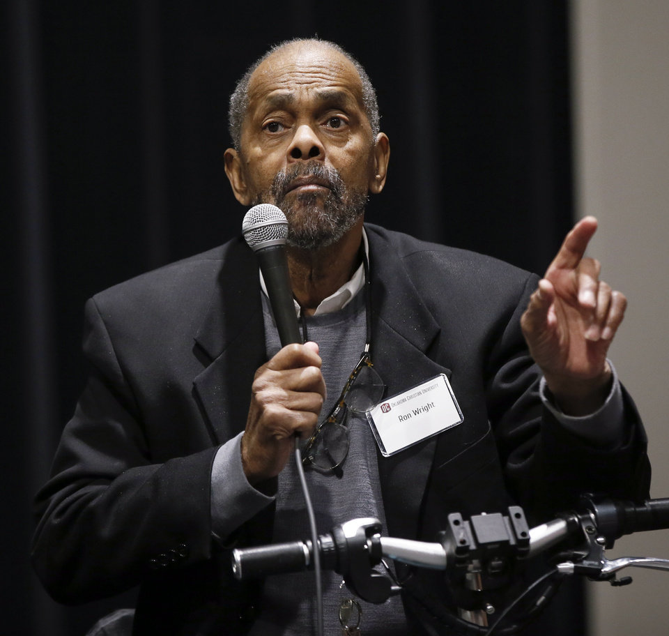Photo - Ron Wright speaks during a panel discussion of former students who were expelled from then Oklahoma Christian College and arrested in 1969 after the Benson Hall sit-in to protest the expulsion of black basketball players who were accused of attending an interracial gathering off campus, at Oklahoma Christian University's Judd Theatre in Oklahoma City, Wednesday, March 6, 2019. Wright is one of what OC calls Oklahoma Christian's 18. Photo by Nate Billings, The Oklahoman