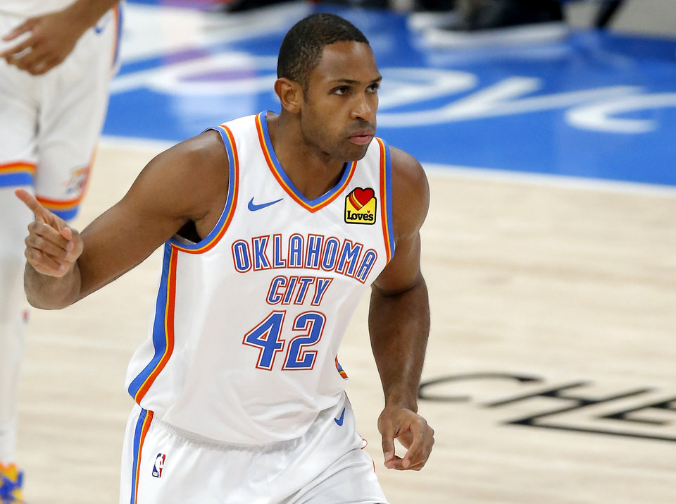 Photo - Al Horford has averaged 7.0 points, 9.0 rebounds and 3.5 assists in his first two games with the Thunder. [Sarah Phipps/The Oklahoman]