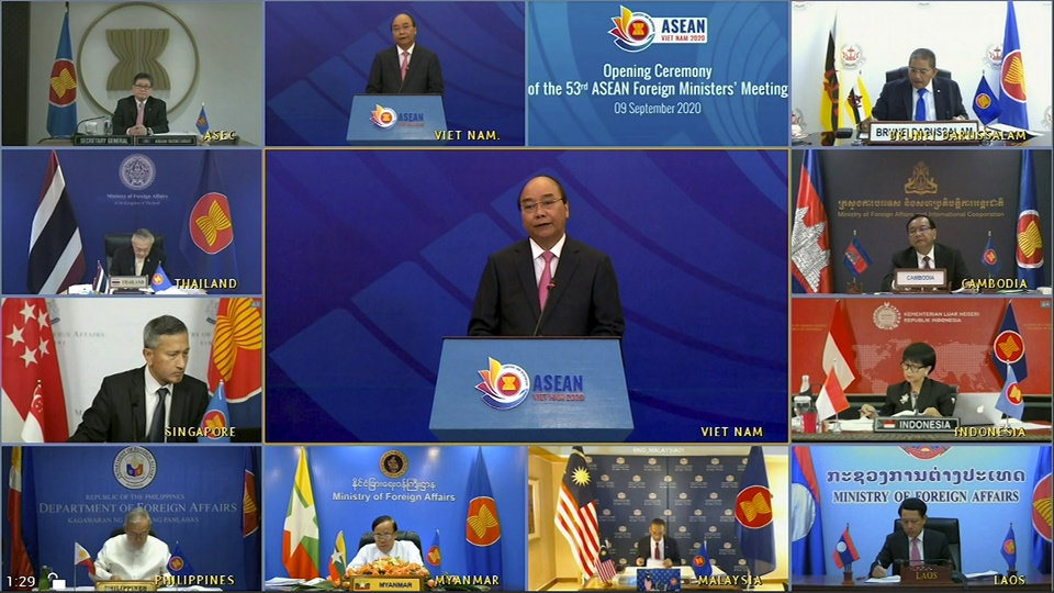 Photo -  This image taken from video shows ASEAN foreign ministers watching Vietnamese Prime Minister Nguyen Xuan Phuc, center, delivering a speech Wednesday during the opening of ASEAN Foreign Ministers' Meeting. [VTV via The Associated Press]