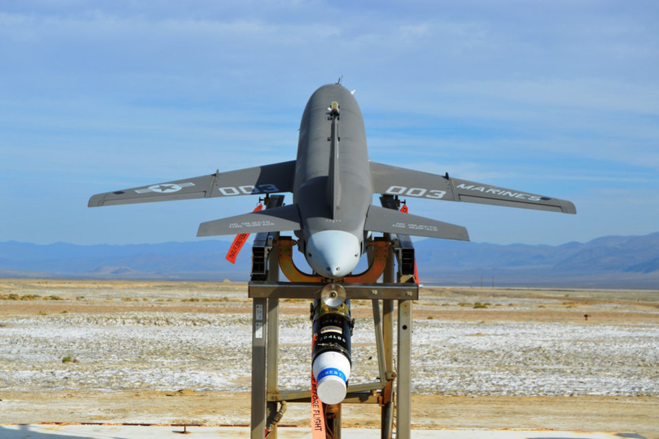 Photo -  A Kratos Defense & Security Solutions Inc. drone is shown on a launch pad.  [Photo provided]