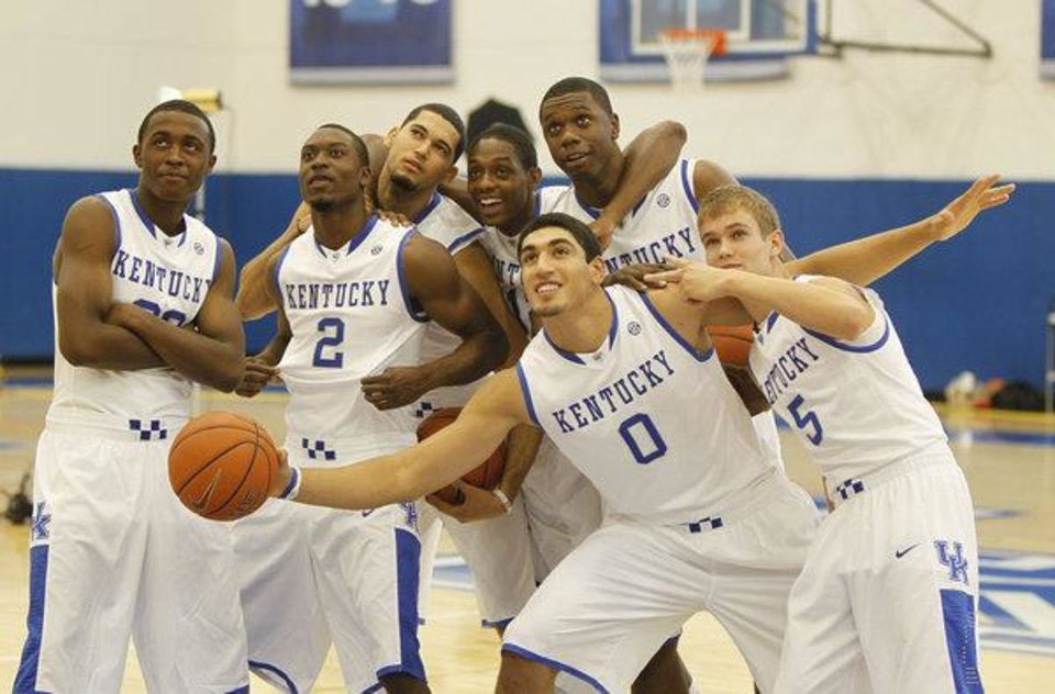 Photo - Enes Kanter poses with his University of Kentucky teammates in 2010. Photo/Google