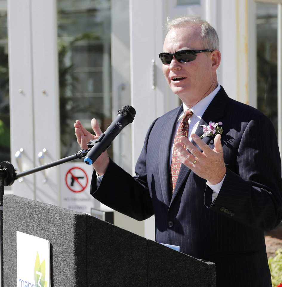 Photo - Oklahoma City Mayor Mick Cornett speaks during a groundbreaking ceremony for the MAPS 3 Will Rogers Trail, a biking and running trail which will traverse the Interstate 44 corridor and connect to the Lake Hefner Trails, taking place at the Will Rogers Gardens, Thursday , October 20, 2016. Photo by Doug Hoke, The Oklahoman