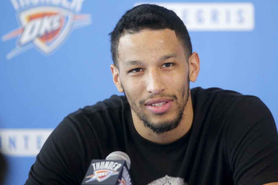Photo - Oklahoma City's Andre Roberson speaks to the media during exit interviews for the Oklahoma City Thunder at the Integris Thunder Development Center in Oklahoma City, Okla., Saturday, April 28, 2018. Photo by Bryan Terry, The Oklahoman