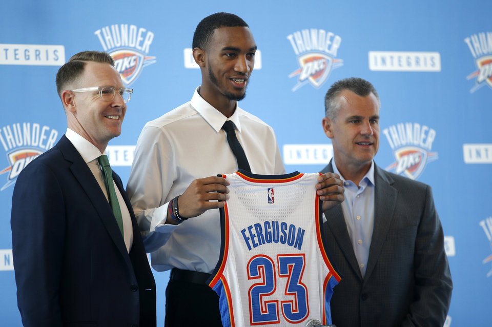Photo -  Oklahoma City Thunder general manager Sam Presti and head coach Billy Donovan introduce Terrance Ferguson during an introductory press conference a the CHK | Central Boathouse in Oklahoma City, Saturday, June 24, 2017. Photo by Sarah Phipps, The Oklahoman