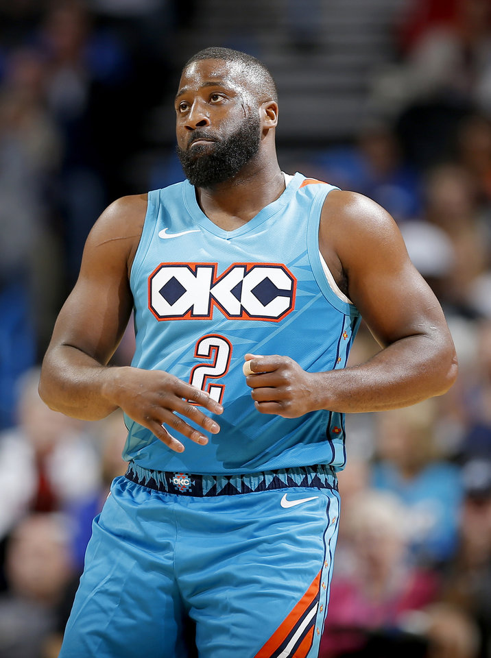 Photo - Oklahoma City's Raymond Felton (2) reacts during the NBA game between the Oklahoma City Thunder and the New York Knicks at the Chesapeake Energy Arena Nov. 14, 2018. Photo by Sarah Phipps, The Oklahoman