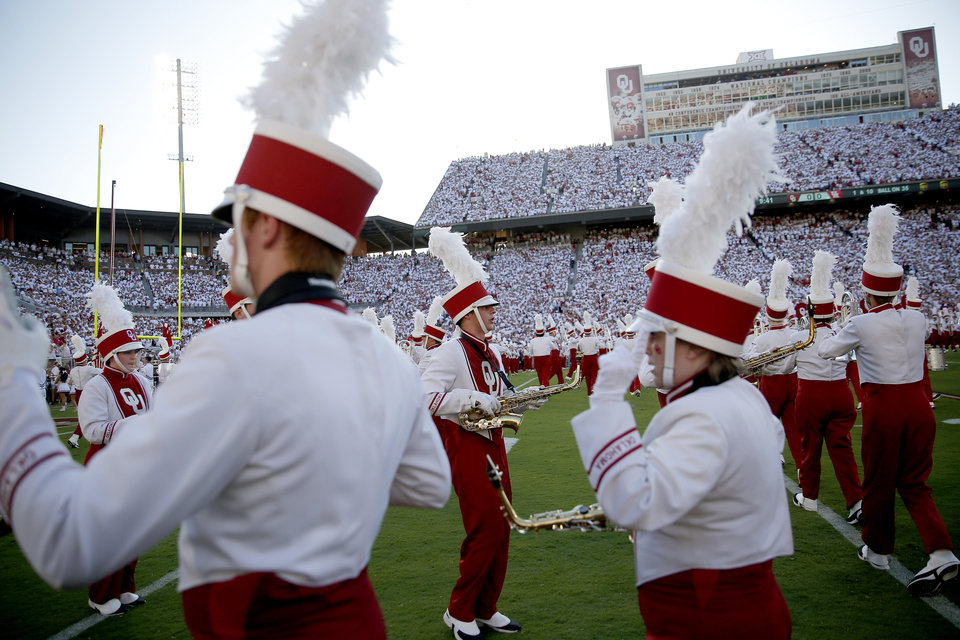 Photo - The Pride of Oklahoma performs before a college football game between the University of Oklahoma Sooners (OU) and the Houston Cougars at Gaylord Family-Oklahoma Memorial Stadium in Norman, Okla., Sunday, Sept. 1, 2019. Oklahoma won 49-31. [Bryan Terry/The Oklahoman]
