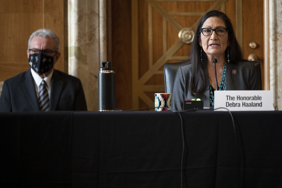 Photo -  Rep. Deb Haaland, D-N.M., speaks during the Senate Committee on Energy and Natural Resources hearing on her nomination to be Interior Secretary, Tuesday, Feb. 23, 2021 on Capitol Hill in Washington. (Jim Watson/Pool via AP