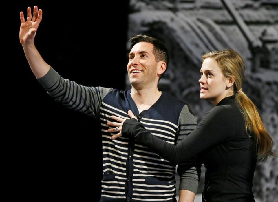 Photo - Zachary Prince and Liz Shivener rehearse a scene for Lyric Theatre's new musical