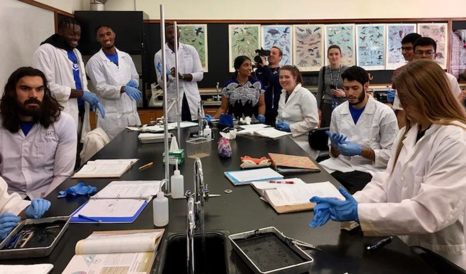 Photo -  Oklahoma City Thunder basketball players donned lab coats when they visited a zoology lab class at the Oklahoma School of Science and Mathematics. [PHOTO PROVIDED]