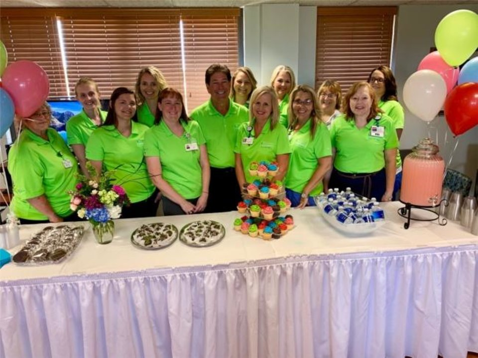 Photo -  Employees at St. Mary's Regional Medical Center celebrate together.