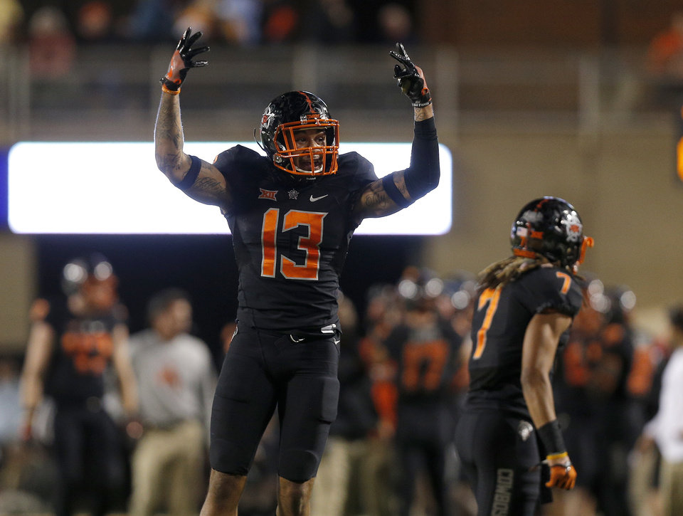 Photo -  Oklahoma State senior safety Jordan Sterns celebrates a missed extra point by Texas Tech on Nov. 12, 2016, at Boone Pickens Stadium. Photo by Sarah Phipps, The Oklahoman.