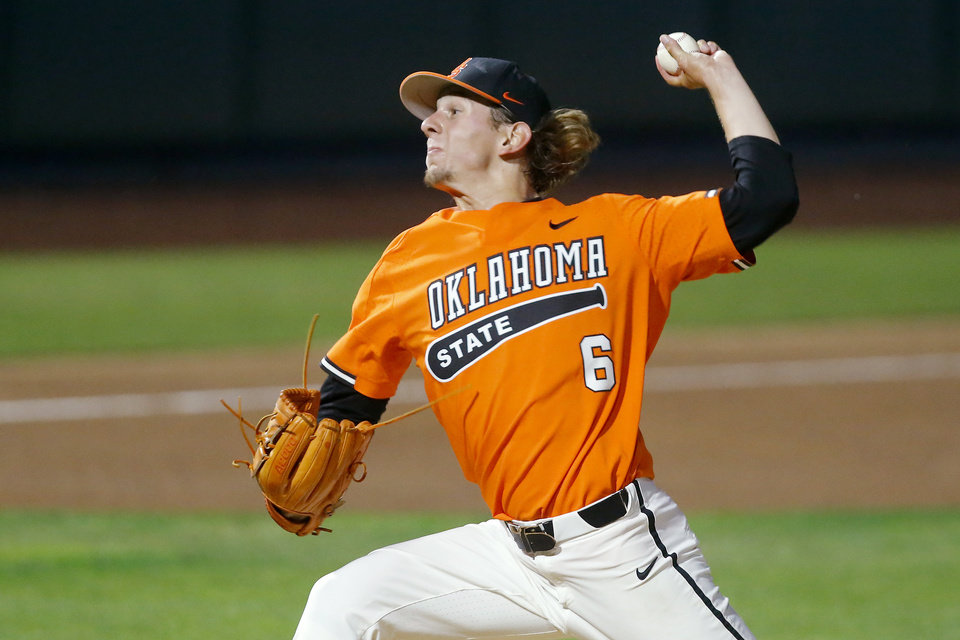 Photo - Oklahoma State's Parker Scott (6) pitches during a Big 12 baseball tournament game between Oklahoma State University (OSU) and TCU at Chickasaw Bricktown Ballpark in Oklahoma City, Okla., Wednesday, May 22, 2019.  [Bryan Terry/The Oklahoman]