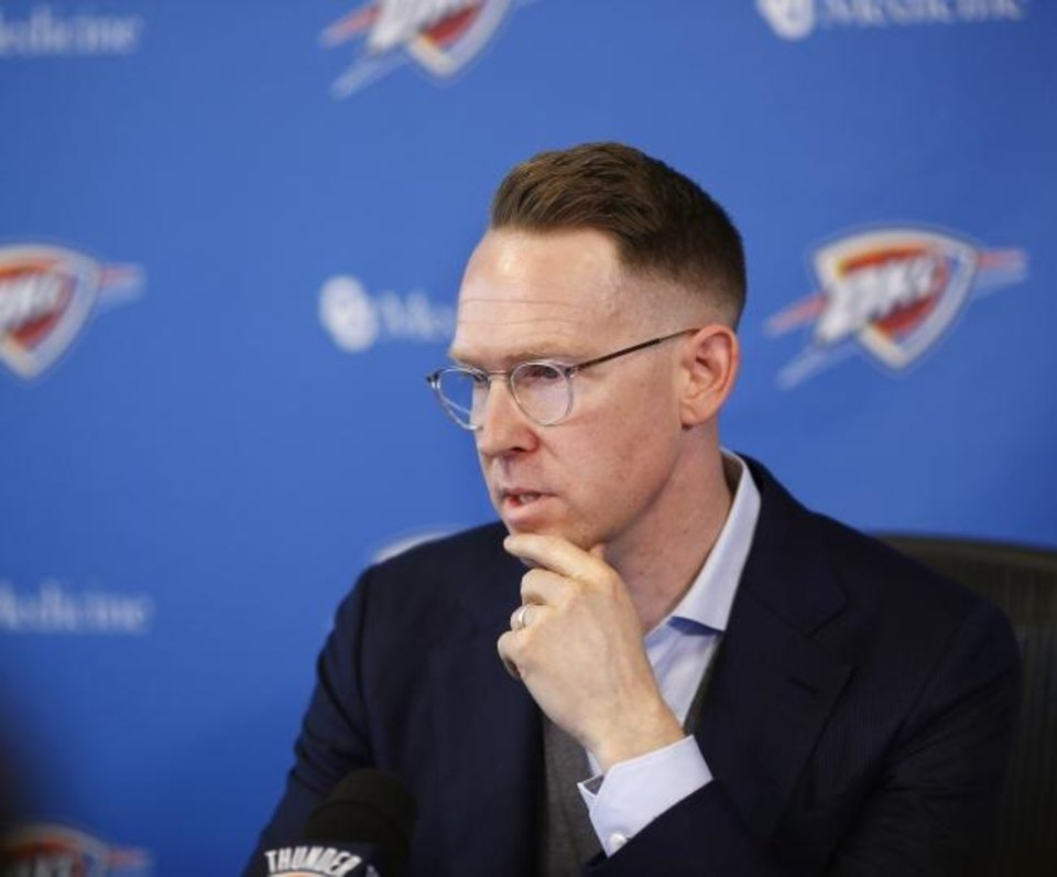 Photo -  Thunder general manager Sam Presti reportedly secured five first-round draft picks from the Clippers in exchange for Paul George. [Jim Beckel/The Oklahoman]