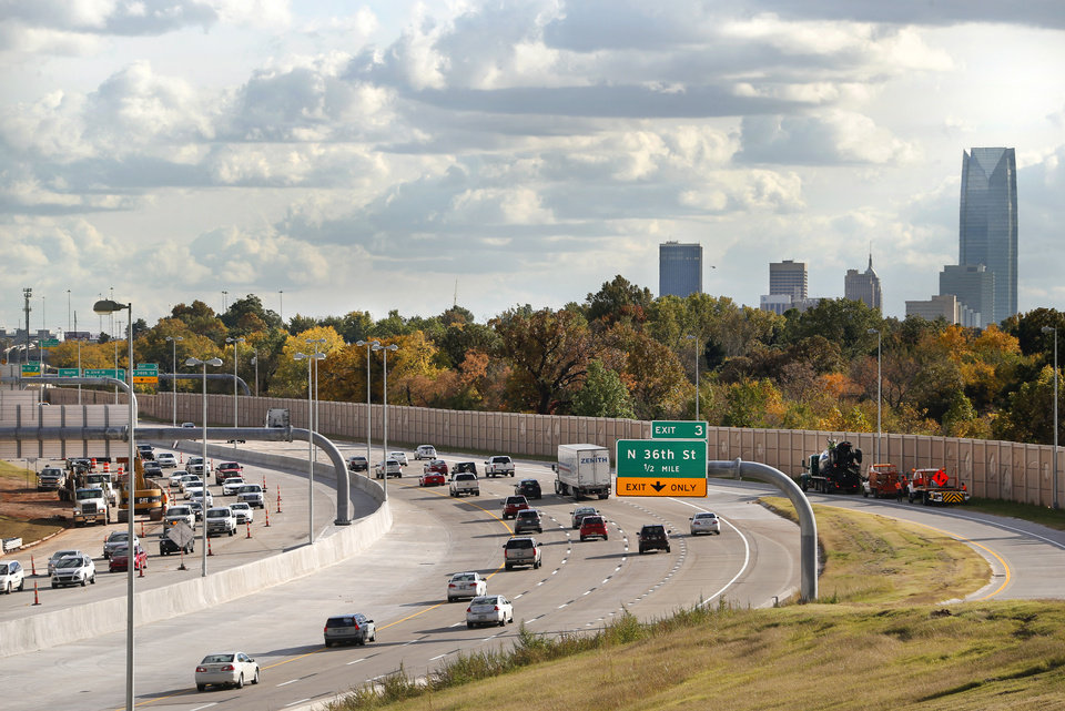 Photo -  File: Traffic moves smoothly in all lanes of southbound traffic on I-235 between  N.  50 and N. 36 Streets late Thursday afternoon, Nov. 1, 2018. [Jim Beckel/The Oklahoman archives]