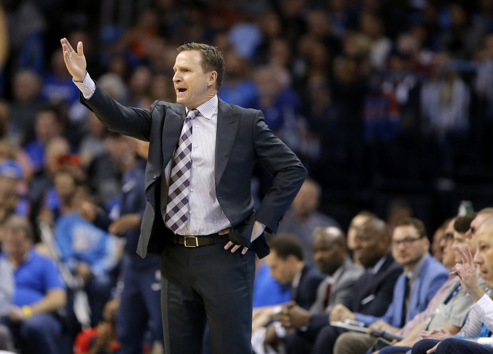 Photo - Washington coach Scott Brooks gestures during an NBA basketball game between the Oklahoma City Thunder and the Washington Wizards at Chesapeake Energy Arena in Oklahoma City, Sunday, Jan. 6, 2019. Photo by Bryan Terry, The Oklahoman