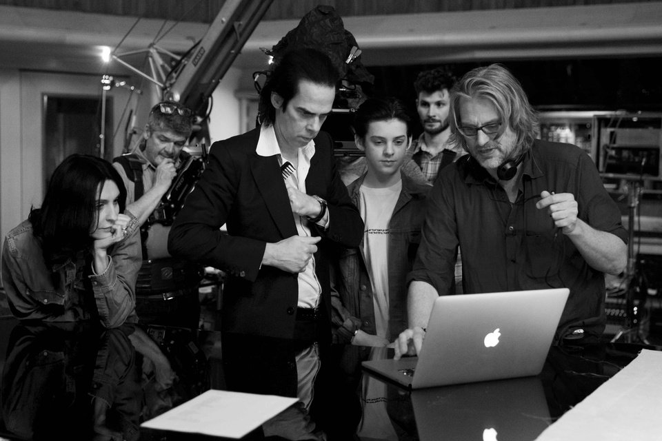 "Photo -  Nick Cave, center, in the documentary ""One More Time With Feeling"" [Photo provided by Picturehouse Entertainment]"