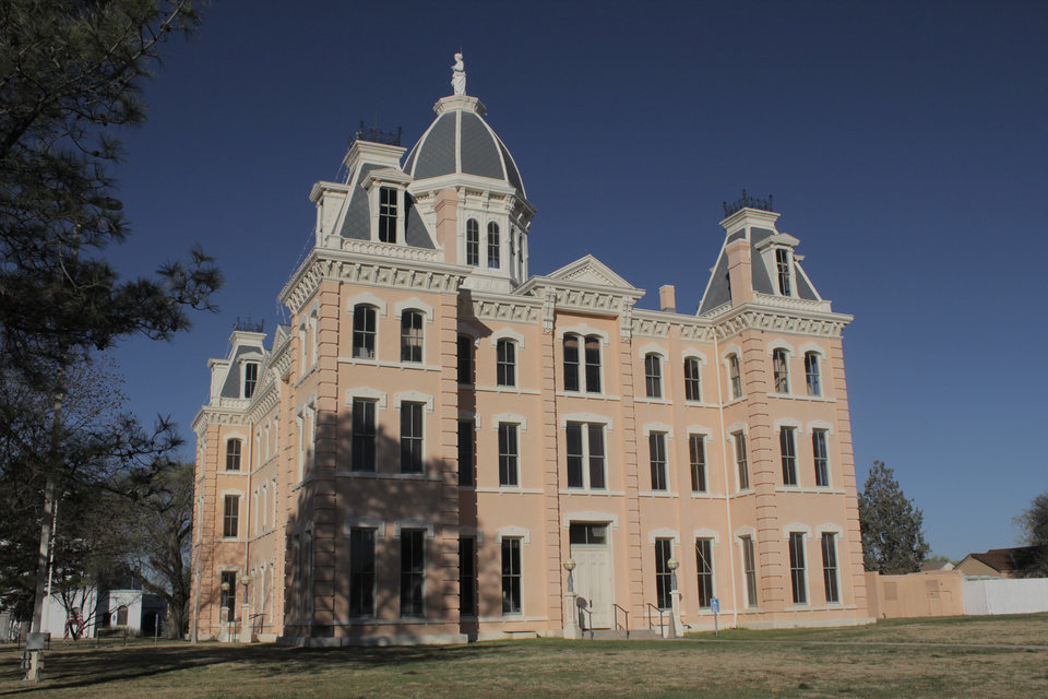 Photo -  The Presidio County Courthouse sits at the end of Highland Street in Marfa, Texas. [Matt Carney, for LOOKatOKC]