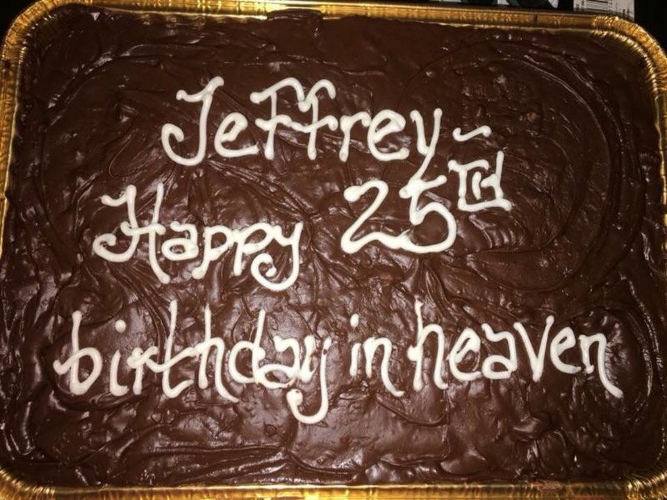 Photo -  A cake Jeffrey Holley's mother bought for his 25th birthday. [Photo provided]