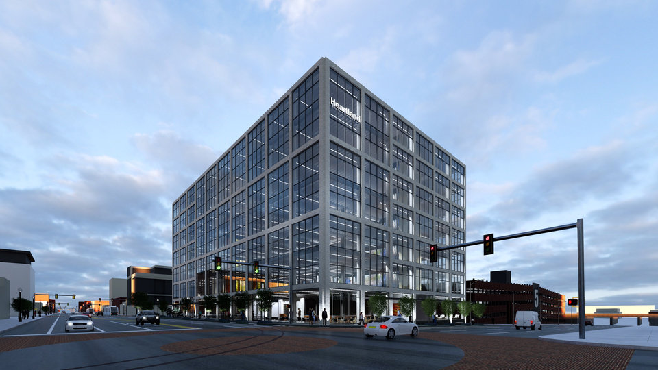 Photo - Heartland Payment Systems will occupy a new office building planned on Broadway along Automobile Alley. [Rendering provided]