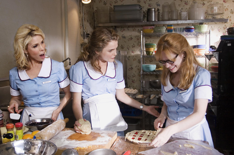 "Photo - From left, Cheryl Hines,  Keri Russell and Adrienne Shelly star in ""Waitress.""