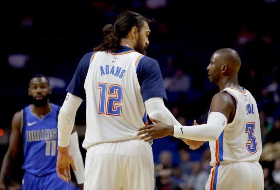 Photo -  The Oklahoma City Thunder will likely turn to veteran players like Steven Adams and Chris Paul to fill the leadership void created with Russell Westbrook left. [Sarah Phipps/The Oklahoman]
