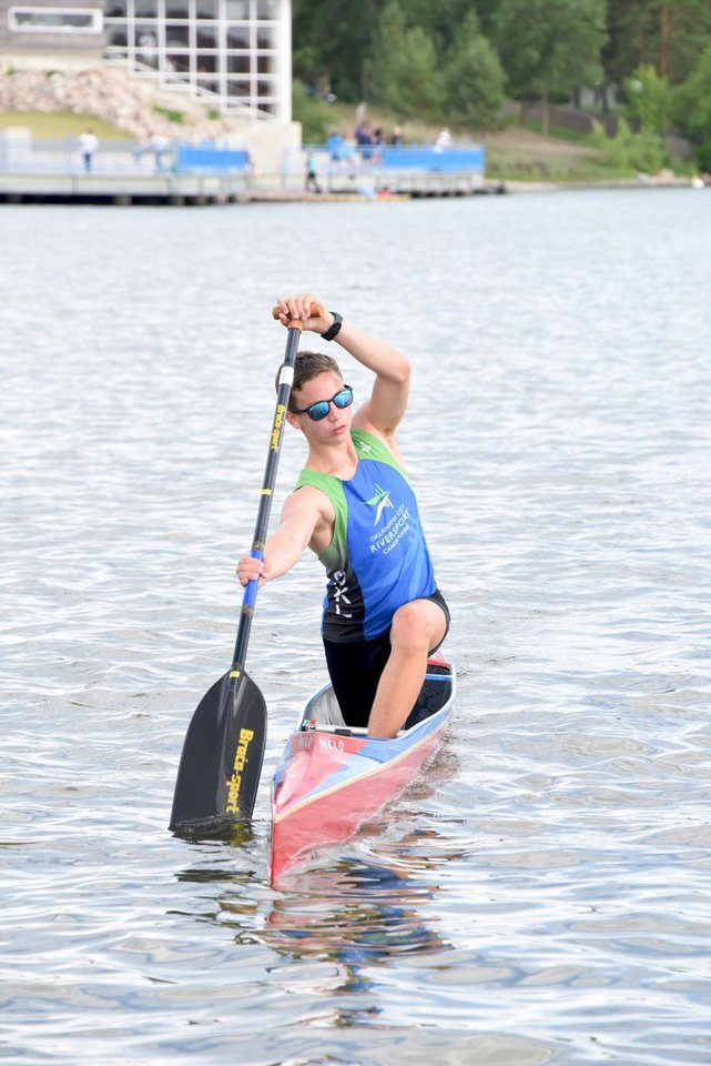 Photo -  Camden Sexton, 16, of Carl Albert High School paddling C-1 at the Canada Day Regatta in Regina, SK, in June 2018. [Photo provided]