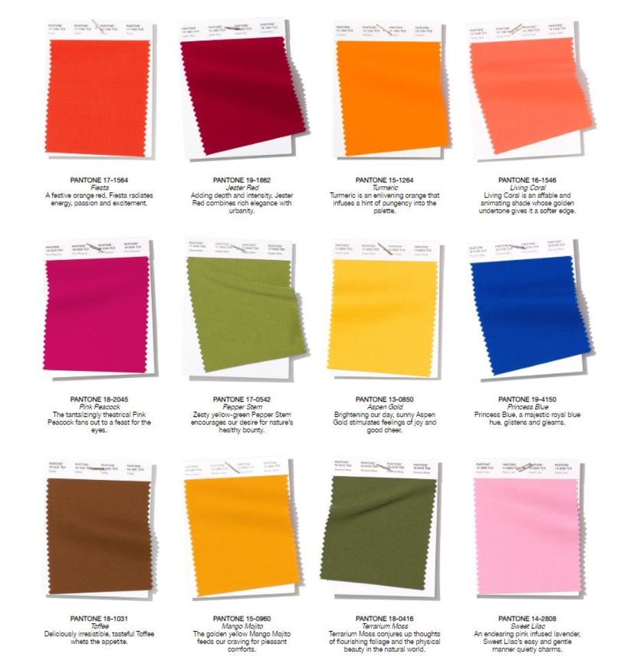 Photo - Pantone Fashion Color Trend Report for spring/summer.