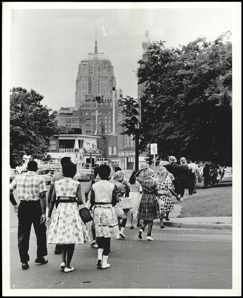 Photo -  Civil Rights protesters often marched from the Calvary Baptist Church in Deep Deuce to their sit-ins downtown. [The Oklahoman Archives]