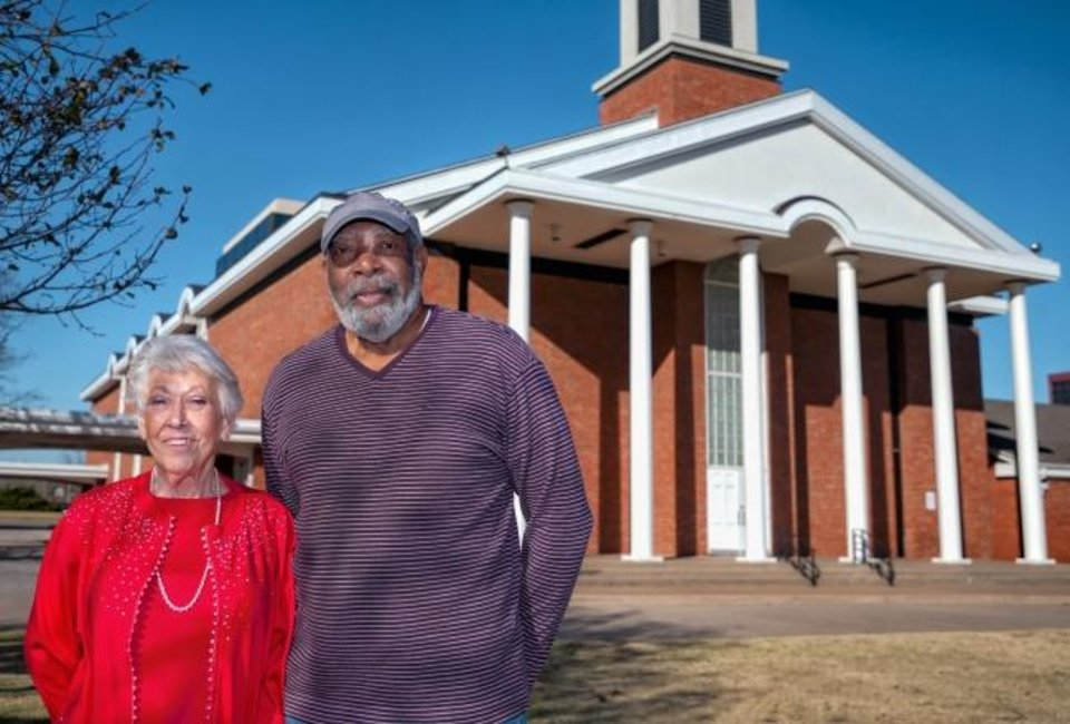 Photo -  Central Presbyterian Church elders Bobbie Heimbach and Willie Adams stand outside the church which will host its last worship service on Sunday at 5101 N May. The church building has been sold and is expected to be torn down. [Chris Landsberger/The Oklahoman]